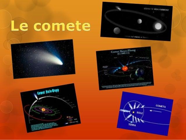 LE COMETELe comete sono corpiche percorrono orbiteellitticheestremamenteallungate.La cometa più famosa sichiama «La cometa...