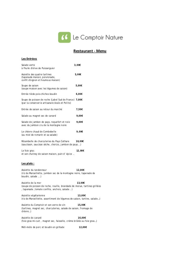 Le comptoir nature - Menu restaurant