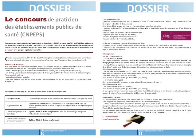 DOSSIER DOSSIER  Le concoursde pra/cien  des établissements publics de  santé (CNPEPS)  Appelé couramment « concours na0on...