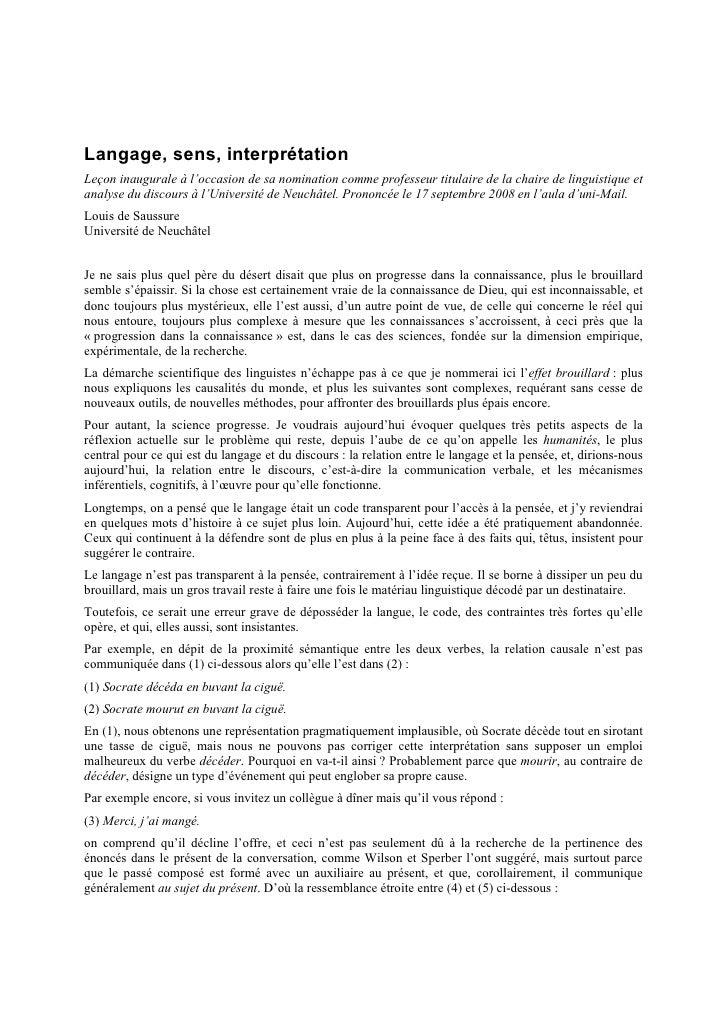 Lecon Inaugurale