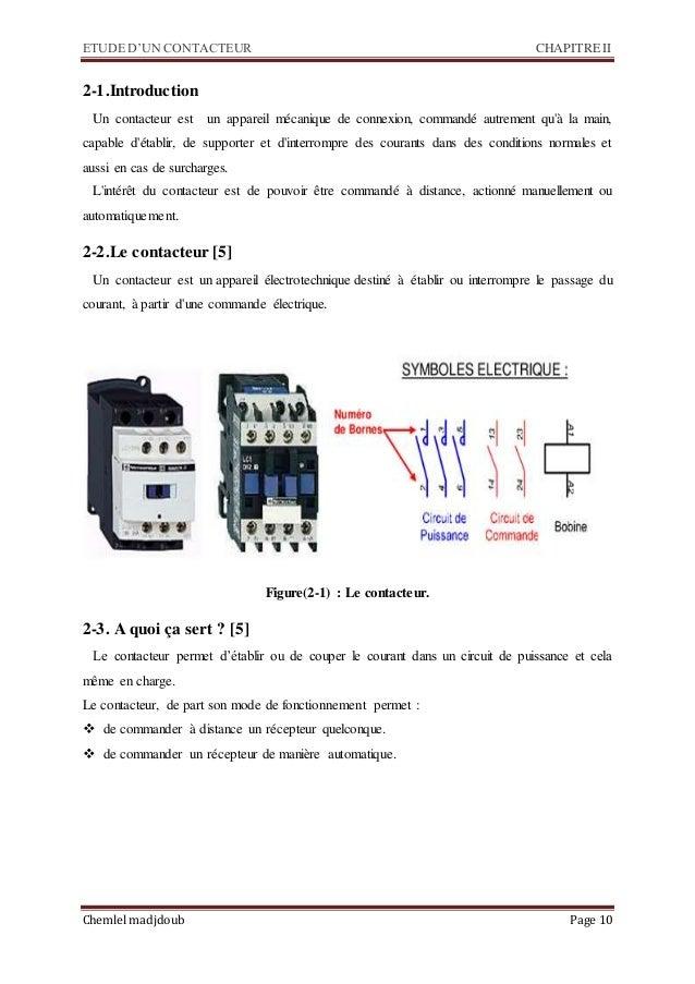 ETUDE D'UN CONTACTEUR CHAPITRE II Chemlel madjdoub Page 10 2-1.Introduction Un contacteur est un appareil mécanique de con...