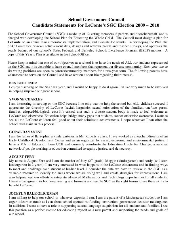 School Governance Council Candidate Statements for LeConte's SGC Election 2009 – 2010 The School Governance Council (SGC) ...