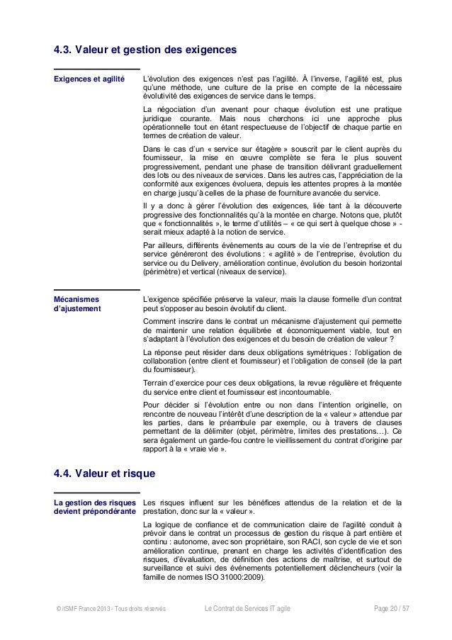Le contrat de services agile, Livre blanc itSMF france