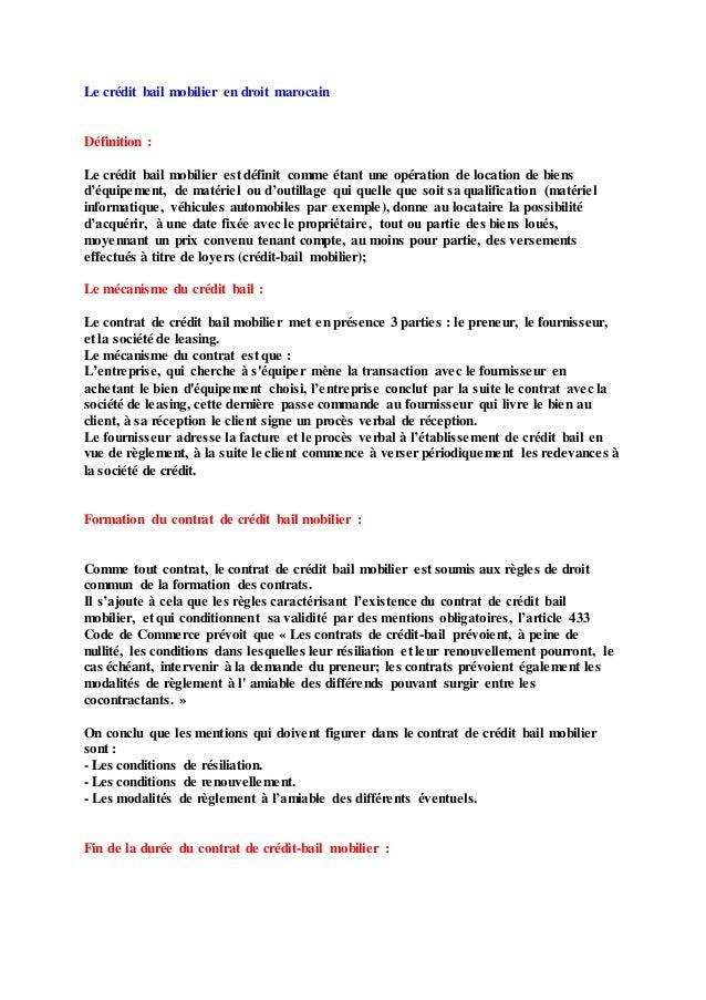 Le crédit bail mobilier en droit marocain Définition : Le crédit bail mobilier est définit comme étant une opération de lo...