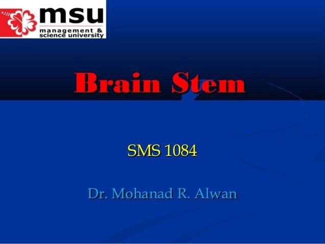 Brain StemBrain Stem SMS 1084SMS 1084 Dr. Mohanad R. AlwanDr. Mohanad R. Alwan