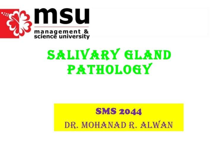 SALIVARY GLAND PATHOLOGY SMS 2044 Dr. Mohanad r. alwan