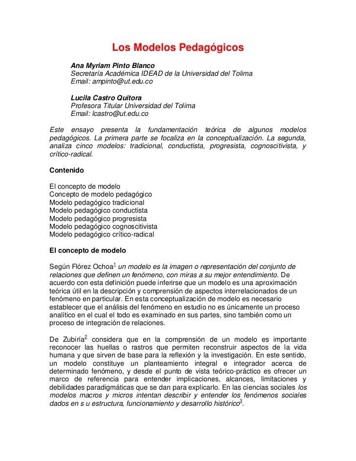 Los Modelos Pedagógicos      Ana Myriam Pinto Blanco      Secretaría Académica IDEAD de la Universidad del Tolima      Ema...