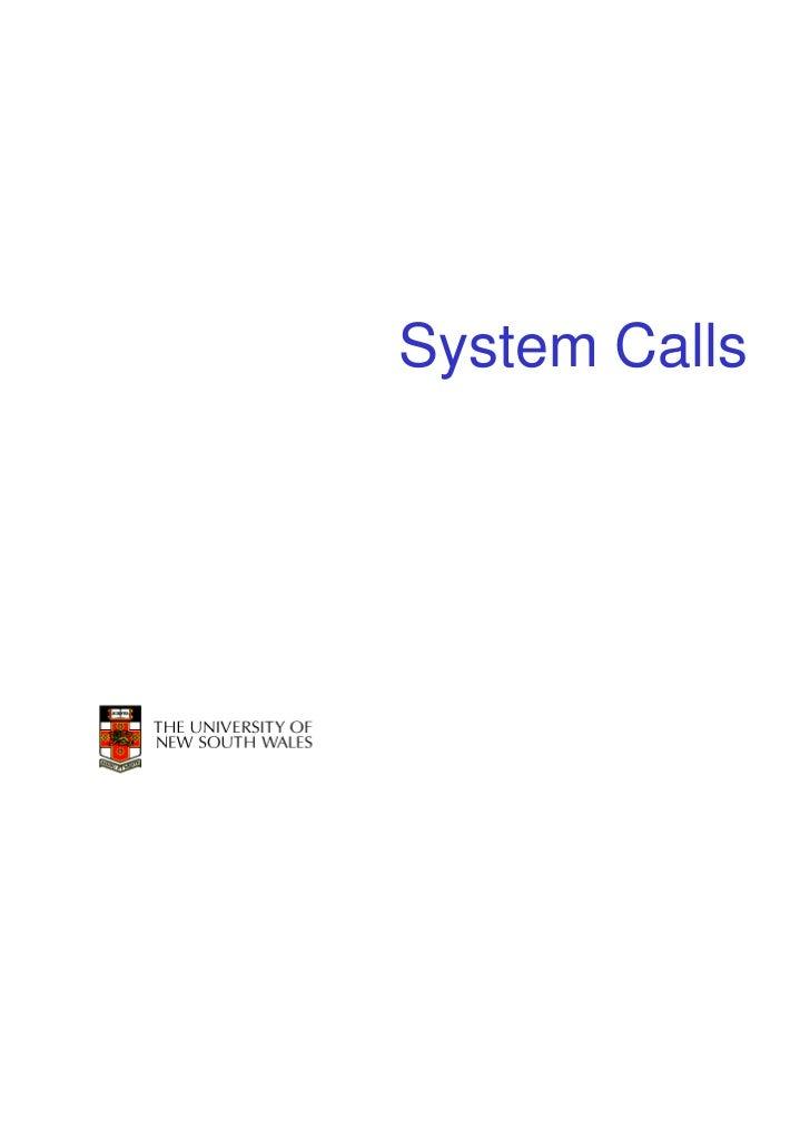 System Calls               1