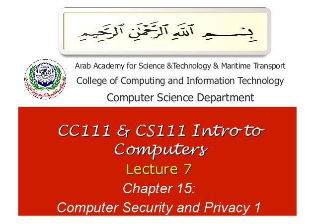 1Arab Academy for Science &Technology & Maritime TransportCollege of Computing and Information Technology        Computer ...