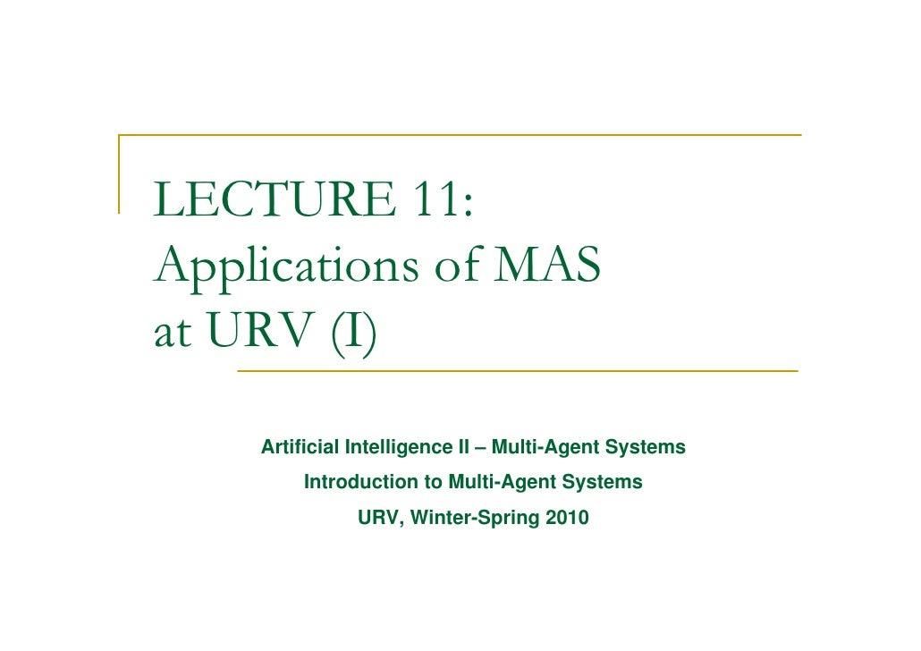 MAS course - Lect11 - URV applications