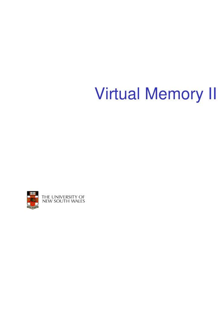 Virtual Memory II                    1