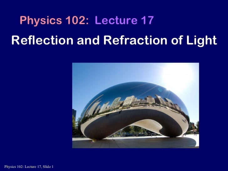 Reflection and Refraction of Light   Physics 102:  Lecture 17