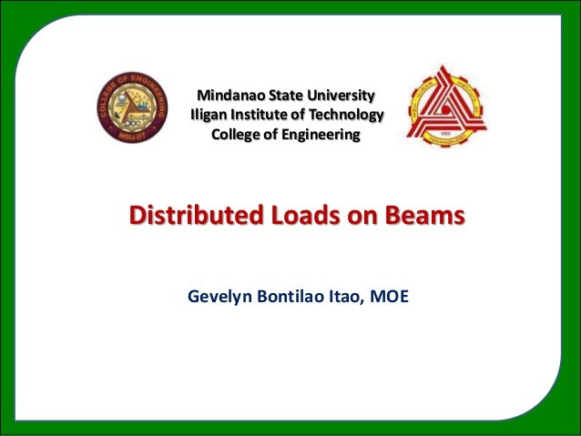 Mindanao State University    Iligan Institute of Technology        College of EngineeringDistributed aLoads on Beams      ...