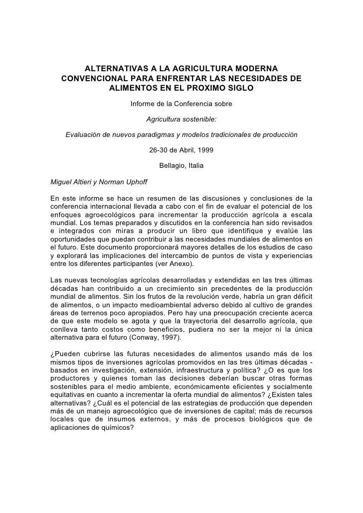 ALTERNATIVAS A LA AGRICULTURA MODERNA   CONVENCIONAL PARA ENFRENTAR LAS NECESIDADES DE            ALIMENTOS EN EL PROXIMO ...