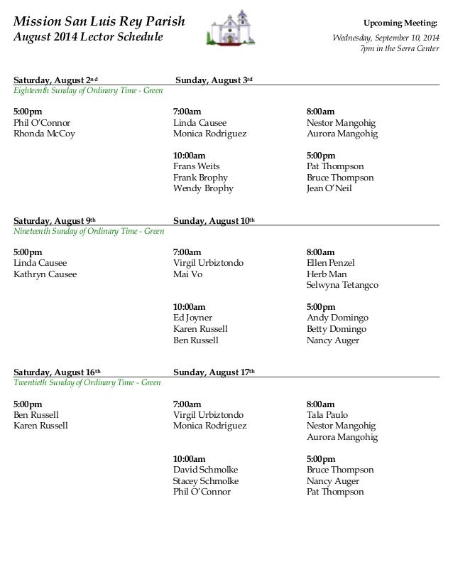 Lectors Ministry Schedule for August 2014