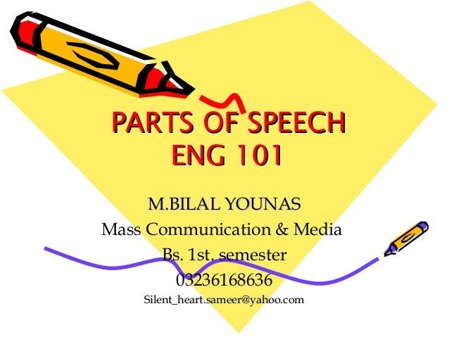 PARTS OF SPEECHPARTS OF SPEECH ENG 101ENG 101 M.BILAL YOUNASM.BILAL YOUNAS Mass Communication & Media Bs. 1st. semester 03...