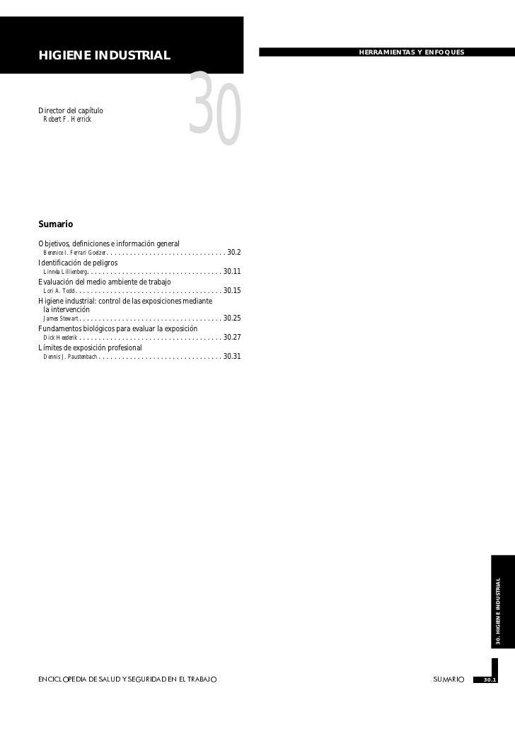 HERRAMIENTAS Y ENFOQUESHIGIENE INDUSTRIALDirector del capítulo Robert F. Herrick                                          ...