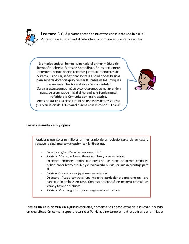 """Leamos: """"¿Qué y cómo aprenden nuestros estudiantes de inicial el Aprendizaje Fundamental referido a la comunicación oral y..."""
