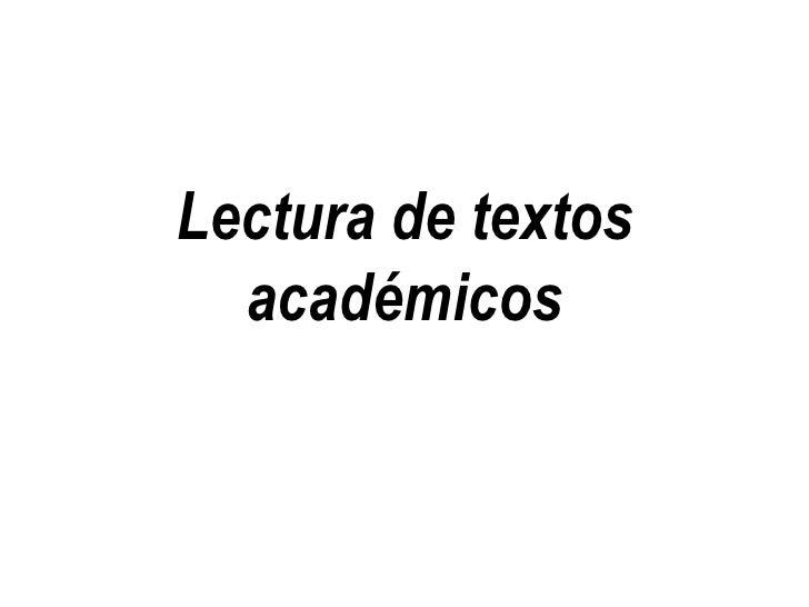 Lectura de textos académicos