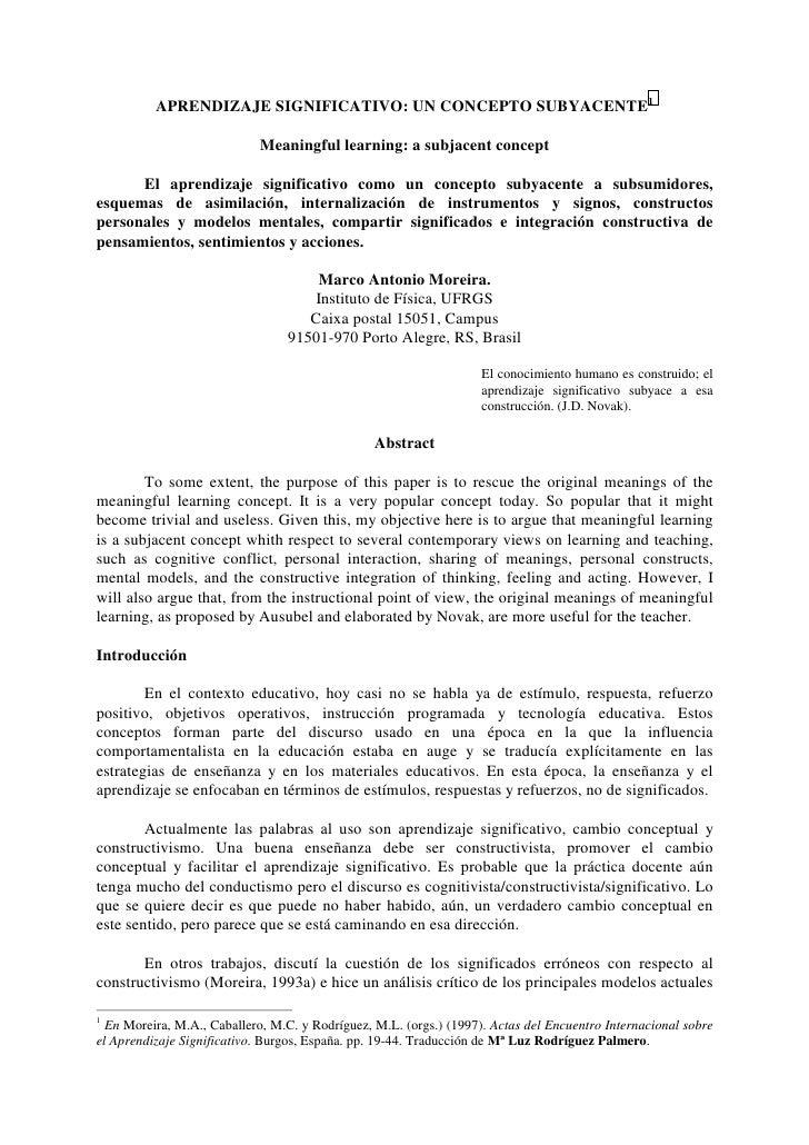 APRENDIZAJE SIGNIFICATIVO: UN CONCEPTO SUBYACENTE1                              Meaningful learning: a subjacent concept  ...