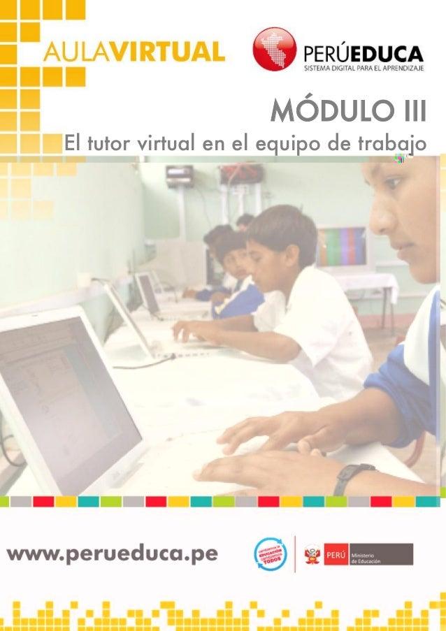 1 MÓDULO III El tutor virtual en el equipo de trabajo