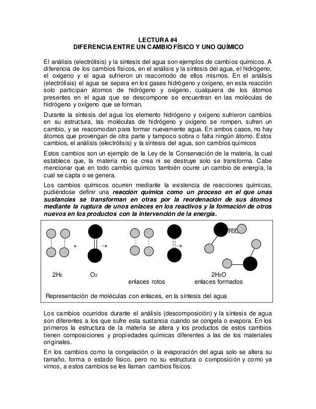 LECTURA #4  DIFERENCIA ENTRE UN CAMBIO FÍSICO Y UNO QUÍMICO  El análisis (electrólisis) y la síntesis del agua son ejemplo...