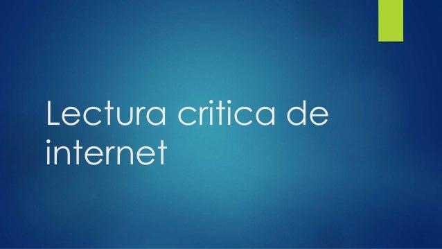 Lectura critica de internet