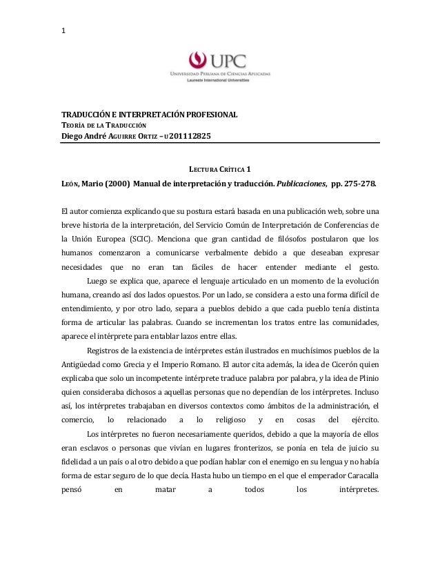 1TRADUCCIÓN E INTERPRETACIÓN PROFESIONALTEORÍA DE LA TRADUCCIÓNDiego André AGUIRRE ORTIZ – U201112825                     ...