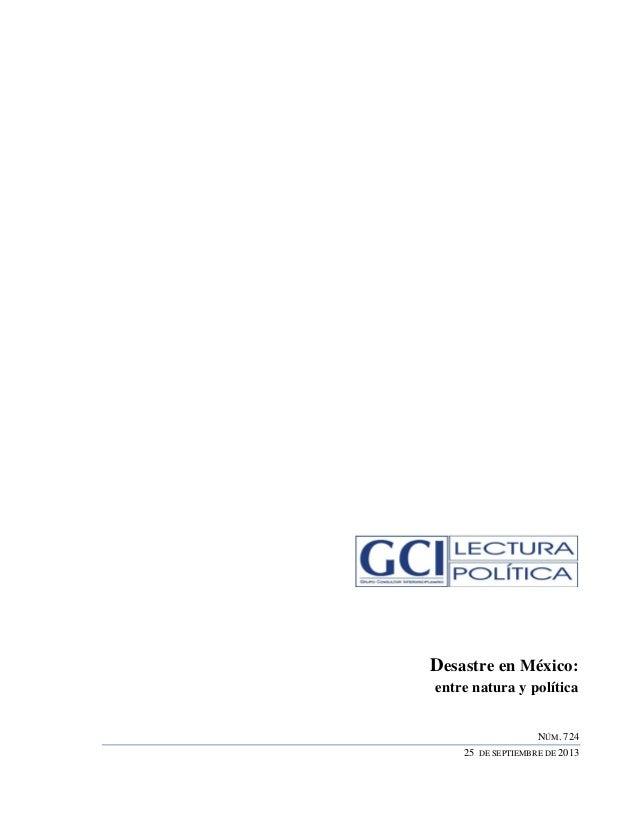 Desastre en México: entre natura y política NÚM. 724 25 DE SEPTIEMBRE DE 2013
