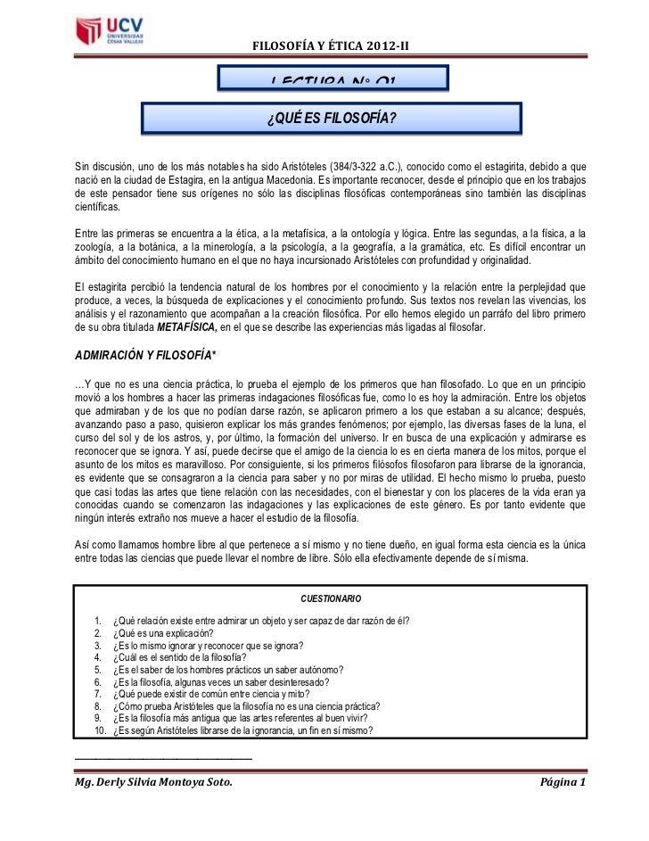 FILOSOFÍA Y ÉTICA 2012-II                                                  LECTURA N° 01                                  ...