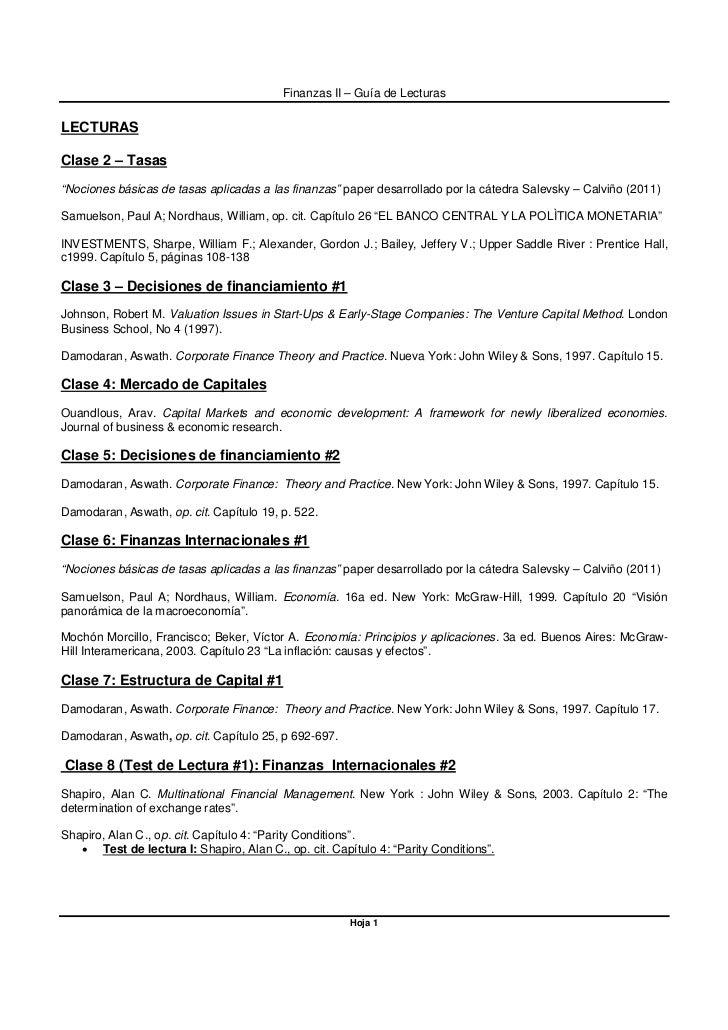 """Finanzas II – Guía de LecturasLECTURASClase 2 – Tasas""""Nociones básicas de tasas aplicadas a las finanzas"""" paper desarrolla..."""