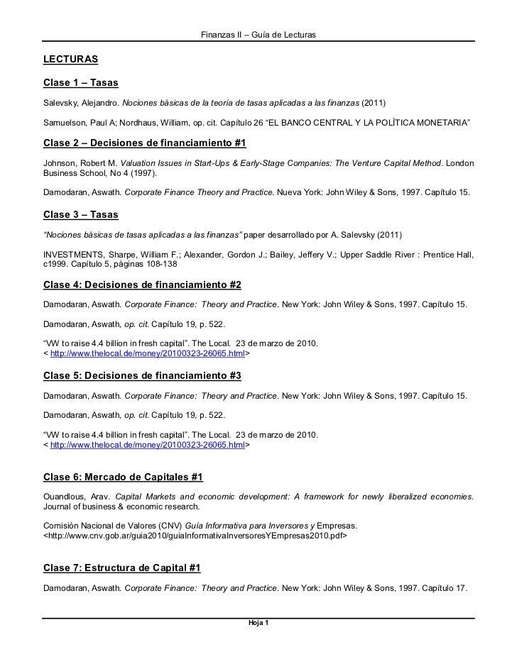 Finanzas II – Guía de LecturasLECTURASClase 1 – TasasSalevsky, Alejandro. Nociones básicas de la teoría de tasas aplicadas...