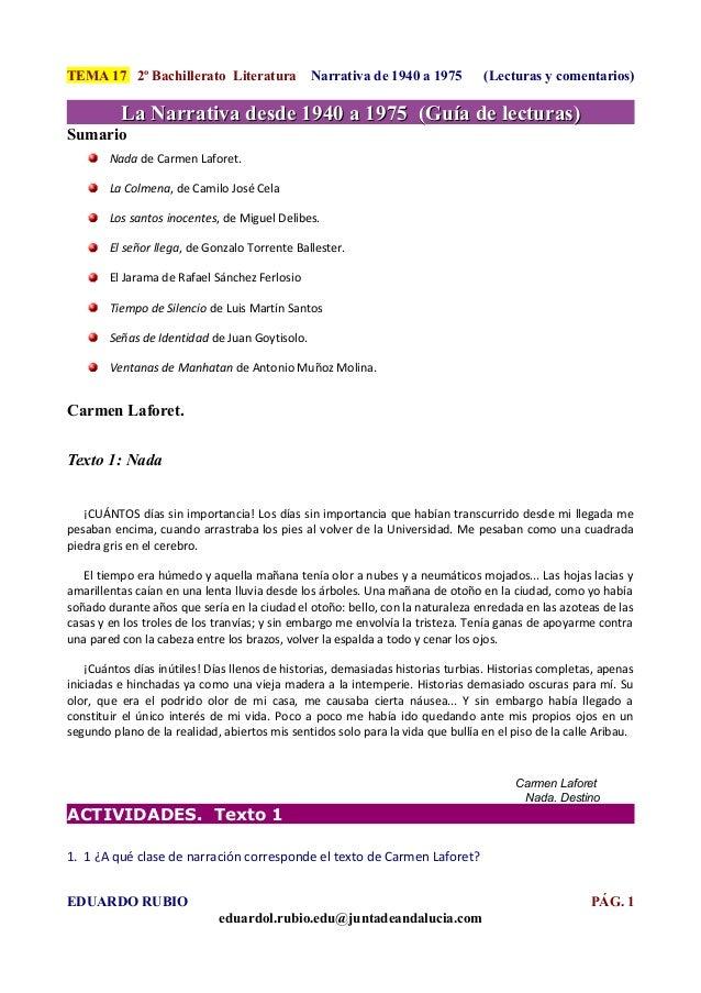 TEMA 17 2º Bachillerato Literatura              Narrativa de 1940 a 1975         (Lecturas y comentarios)          La Narr...