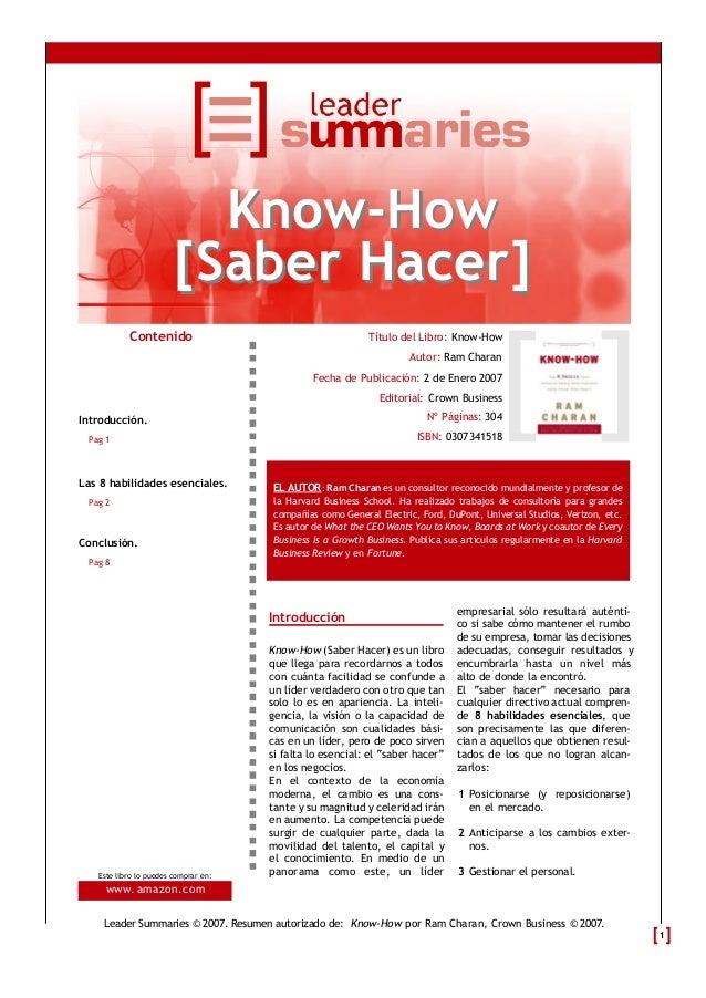 Know-How                        [Saber Hacer]           Contenido                                       Título del Libro: ...