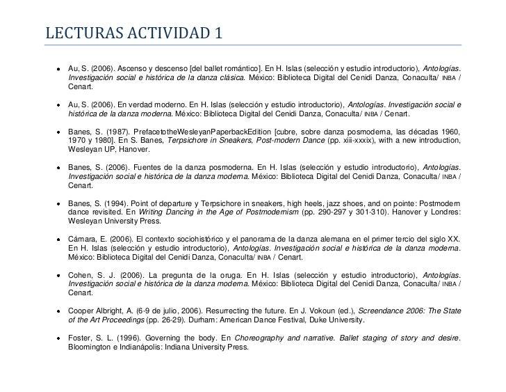 LECTURAS ACTIVIDAD 1  Au, S. (2006). Ascenso y descenso [del ballet romántico]. En H. Islas (selección y estudio introduct...