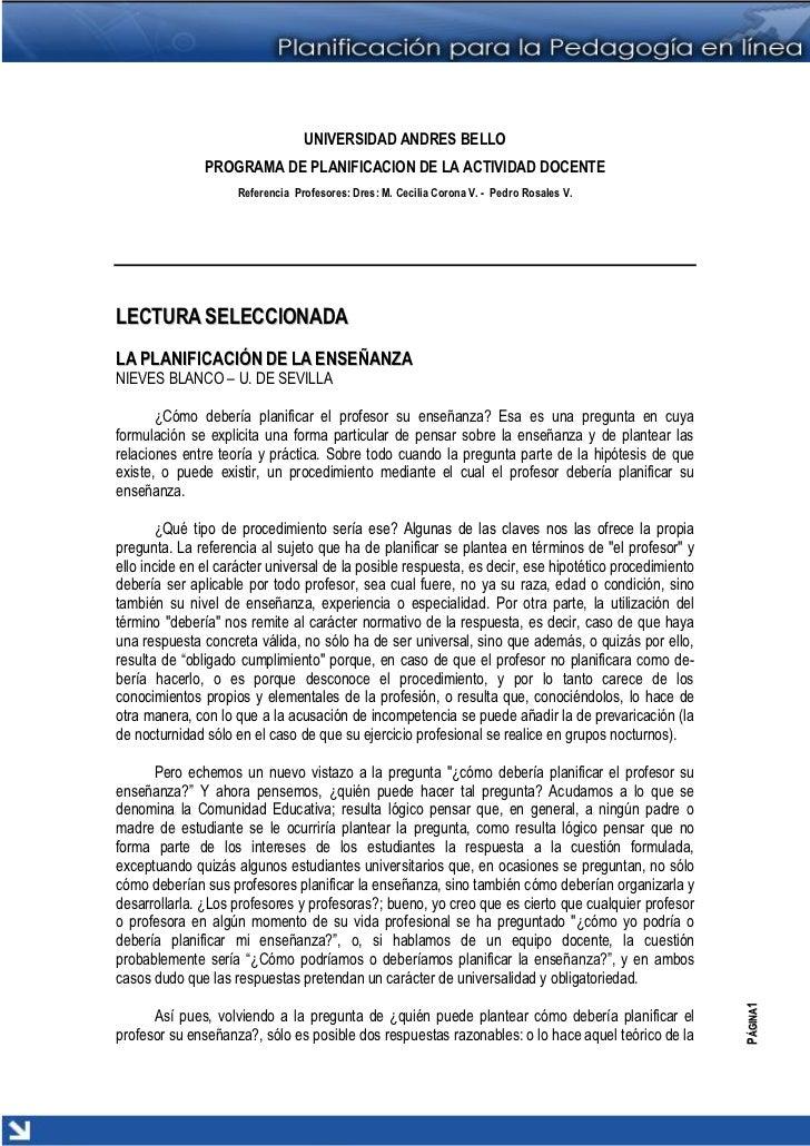 UNIVERSIDAD ANDRES BELLO               PROGRAMA DE PLANIFICACION DE LA ACTIVIDAD DOCENTE                     Referencia Pr...