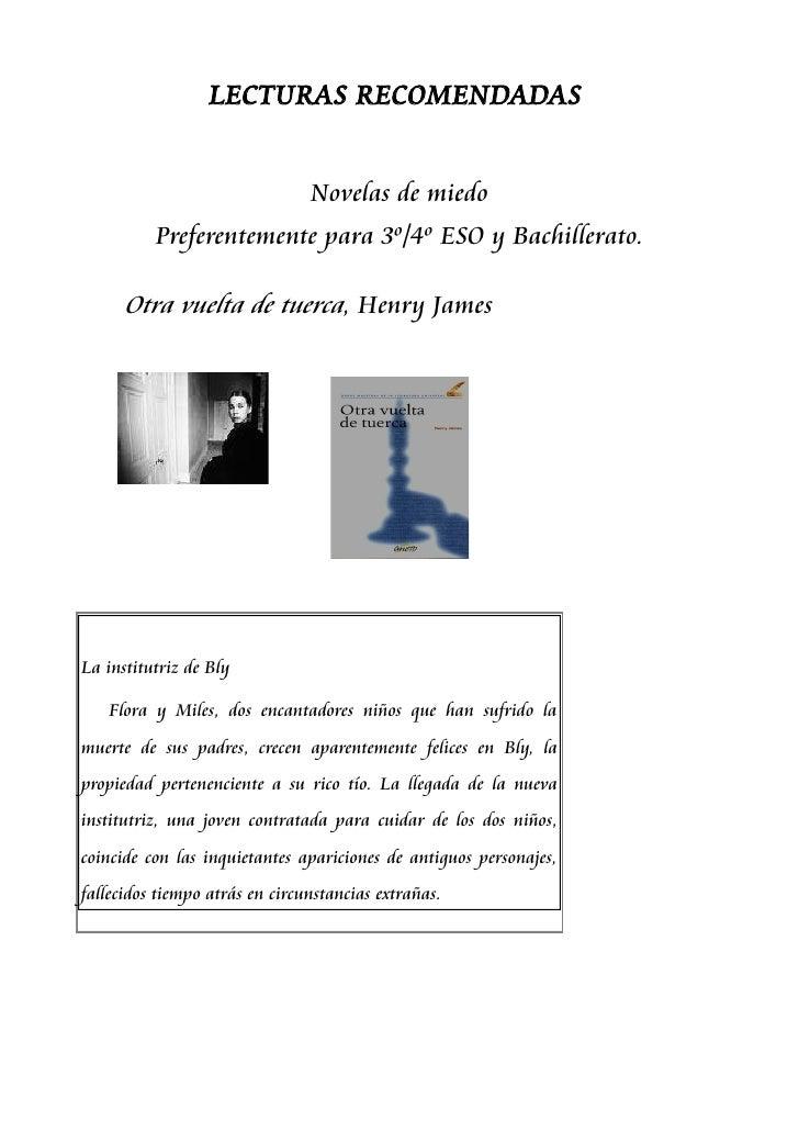 LECTURAS RECOMENDADAS                                   Novelas de miedo           Preferentemente para 3º/4º ESO y Bachil...
