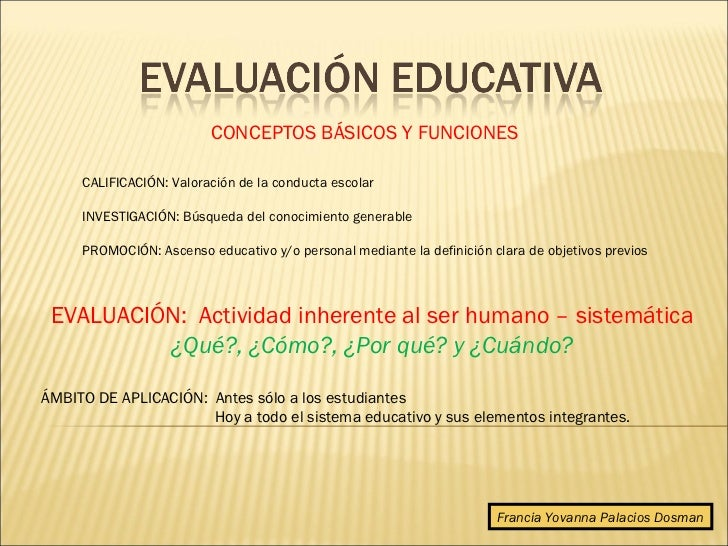 CONCEPTOS BÁSICOS Y FUNCIONES     CALIFICACIÓN: Valoración de la conducta escolar     INVESTIGACIÓN: Búsqueda del conocimi...