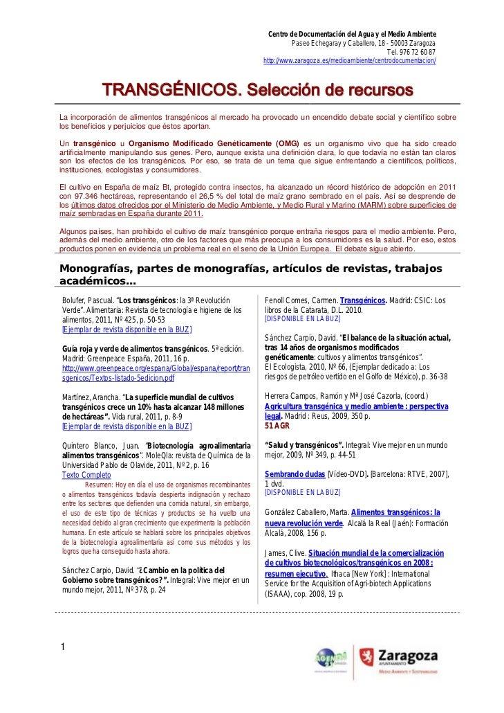 Lecturas y recursos de información sobre transgénicos 2012