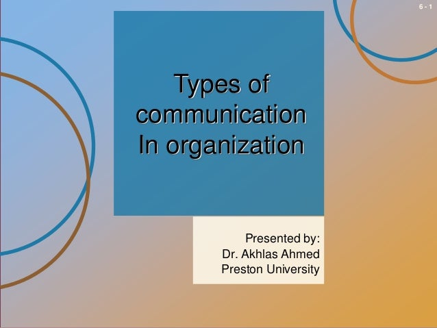 6-1  Types of communication In organization  Presented by: Dr. Akhlas Ahmed Preston University