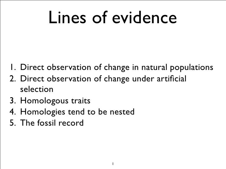 Lines of evidence  1. Direct observation of change in natural populations 2. Direct observation of change under artificial ...