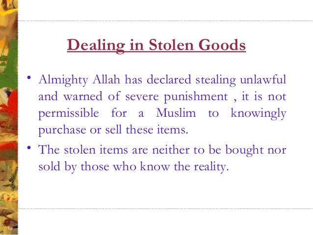 Buying Stolen Goods According to Islam