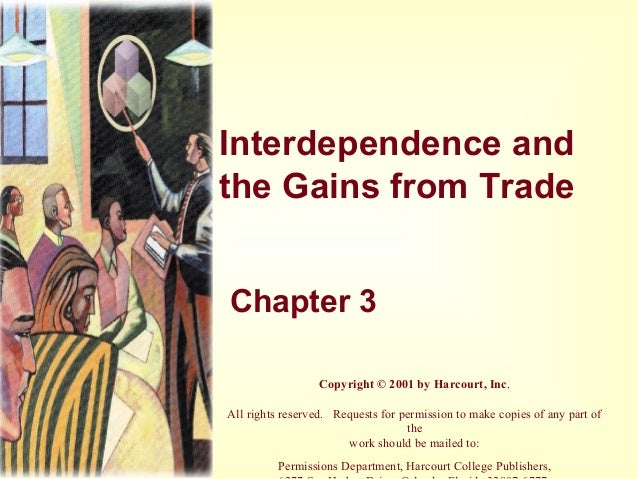 Interdependence and the Gains from Trade Chapter 3 Copyright © 2001 by Harcourt, Inc. All rights reserved. Requests for pe...