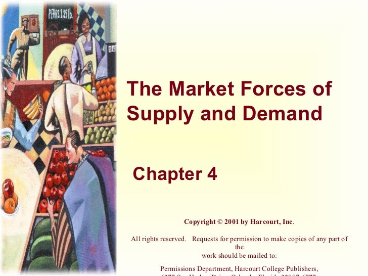 The Market Forces of Supply and Demand Chapter 4 Copyright © 2001 by Harcourt, Inc . All rights reserved. Requests for p...