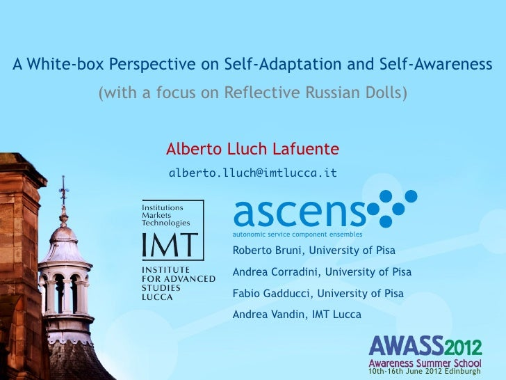 A White-box Perspective on Self-Adaptation and Self-Awareness          (with a focus on Reflective Russian Dolls)         ...