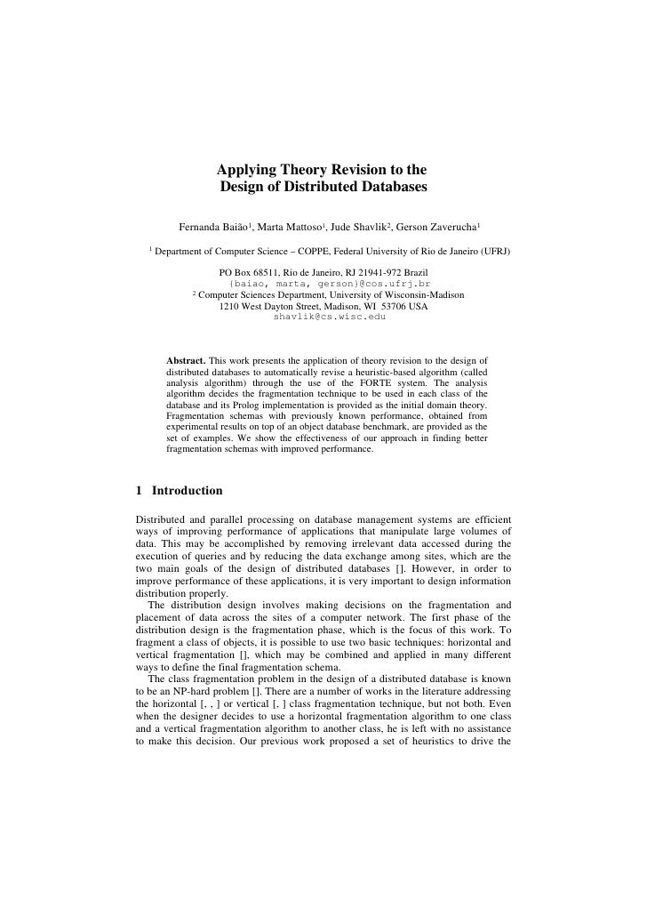 Applying Theory Revision to the                      Design of Distributed Databases              Fernanda Baião1, Marta M...
