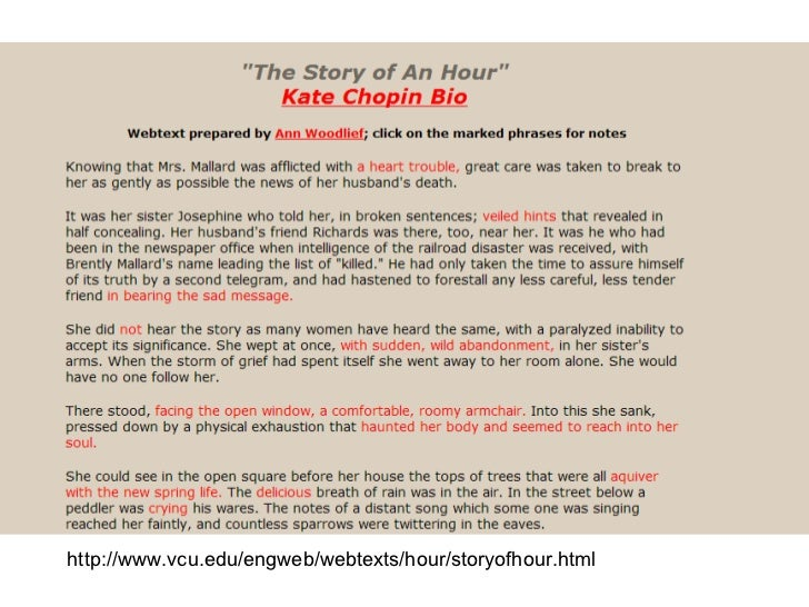 an analysis of the theme of grief and love in the story of an hour by kate chopin In kate chopin's the story of an hour, the main character, mrs mallard, is a married woman with a heart condition her husband is away and news comes that he has perished in a horrific train accident.