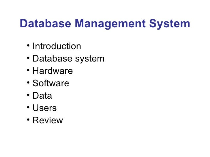Lecture 01 overview of dbms