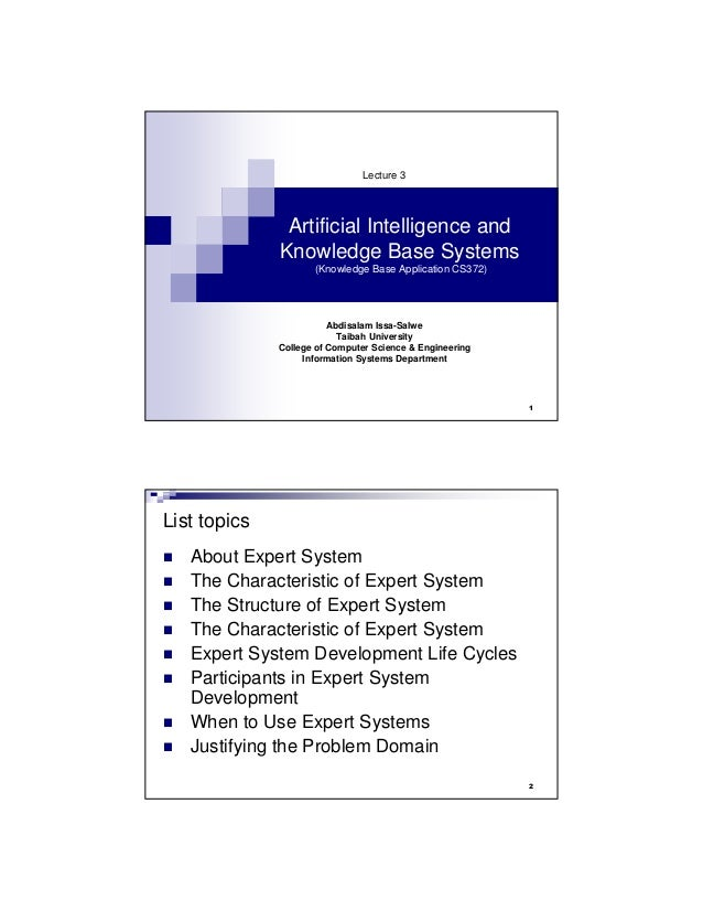 Lecture7(CS372-AI&KnowledgeBaseSystems)