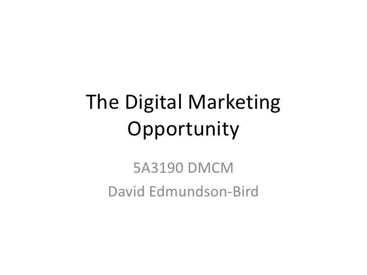 The Digital Marketing Opportunity<br />5A3190 DMCM<br />David Edmundson-Bird<br />